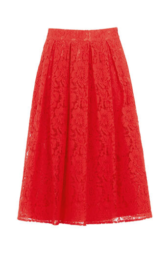 Oasis, LACE MIDI SKIRT Mid Orange 0