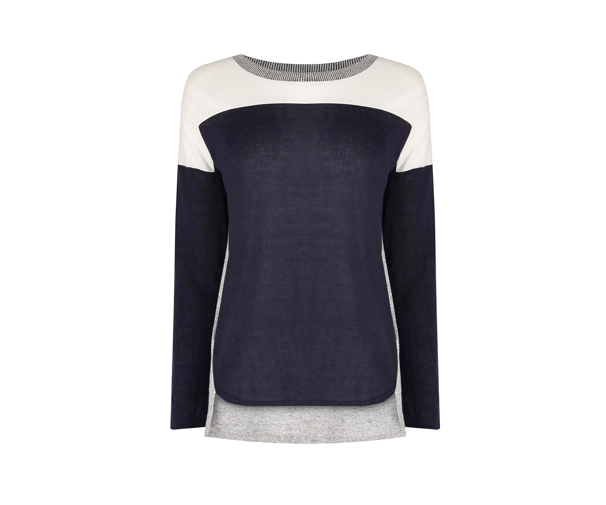 Oasis, Colour Block Sweater Navy 0