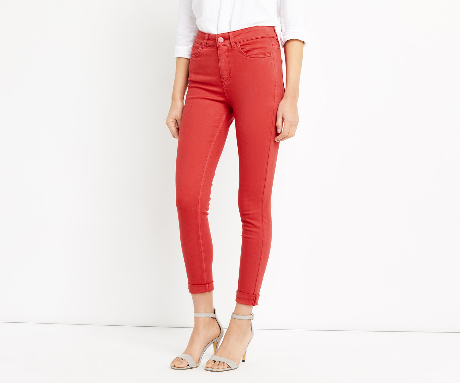 Oasis, STILETTO SKINNY JEANS Rich Red 1