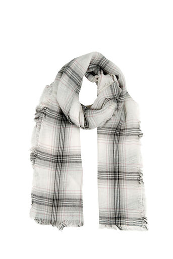 Oasis, STEPHANIE CHECK SCARF Mid Grey 0