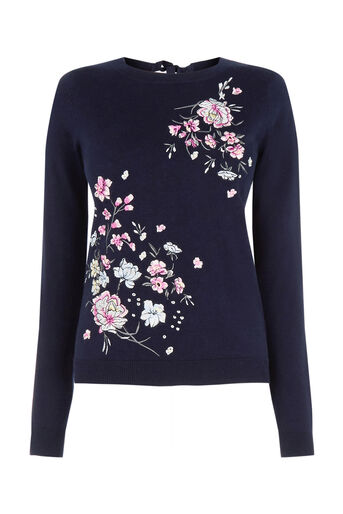 Oasis, Embroidered lotus knit Navy 0
