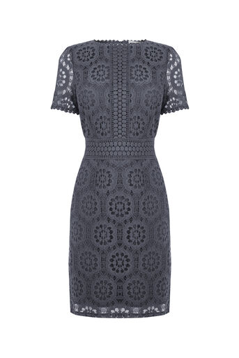 Oasis, Isla lace dress Pale Grey 0
