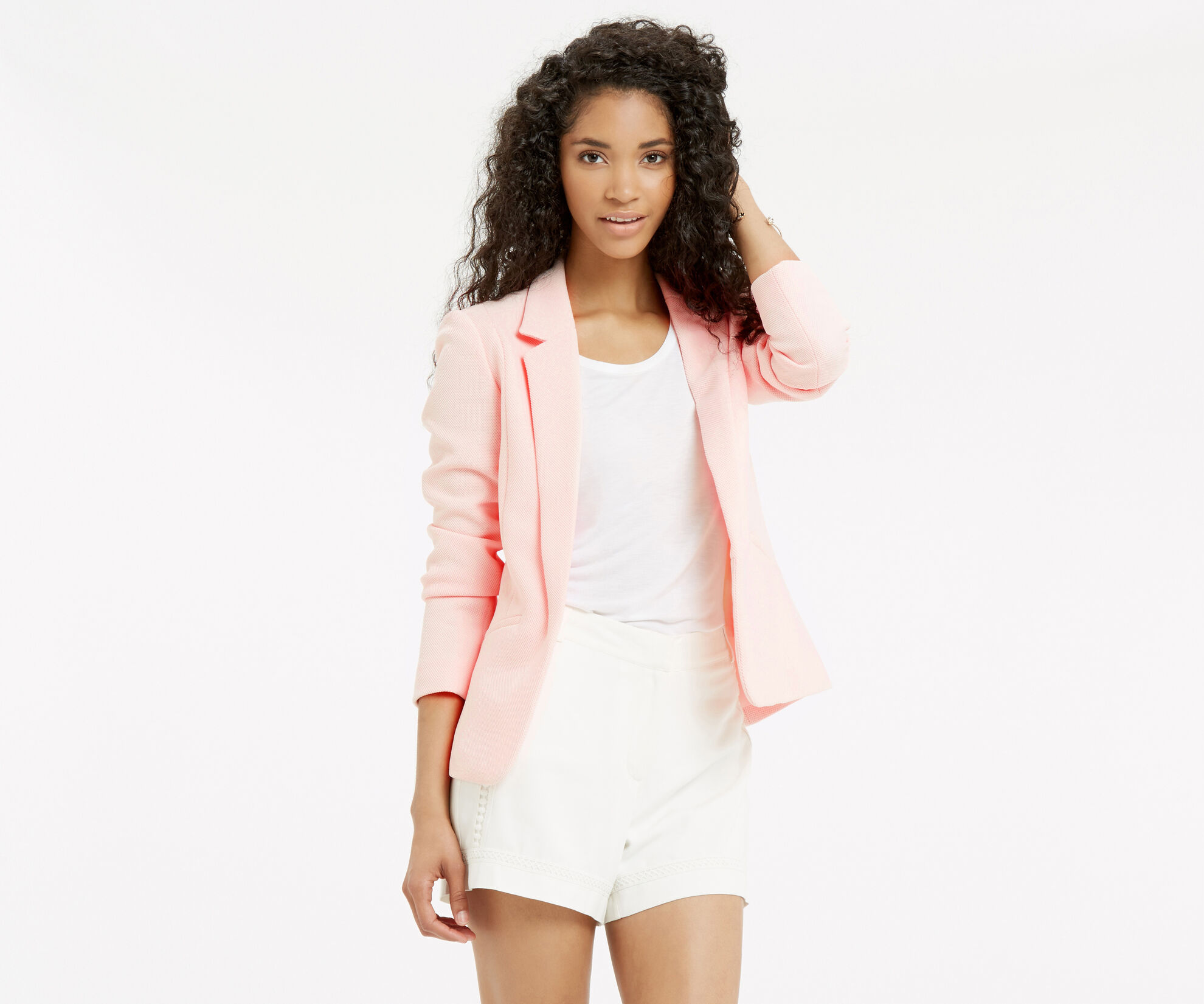 Oasis, TAILORED TEXTURED JACKET Pale Pink 1