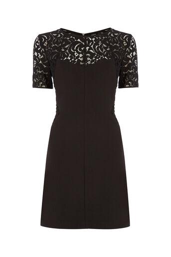 Oasis, Lace Patched Dress Black 0