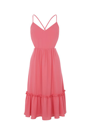 Oasis, CUT-OUT SIDE MIDI DRESS Mid Pink 0