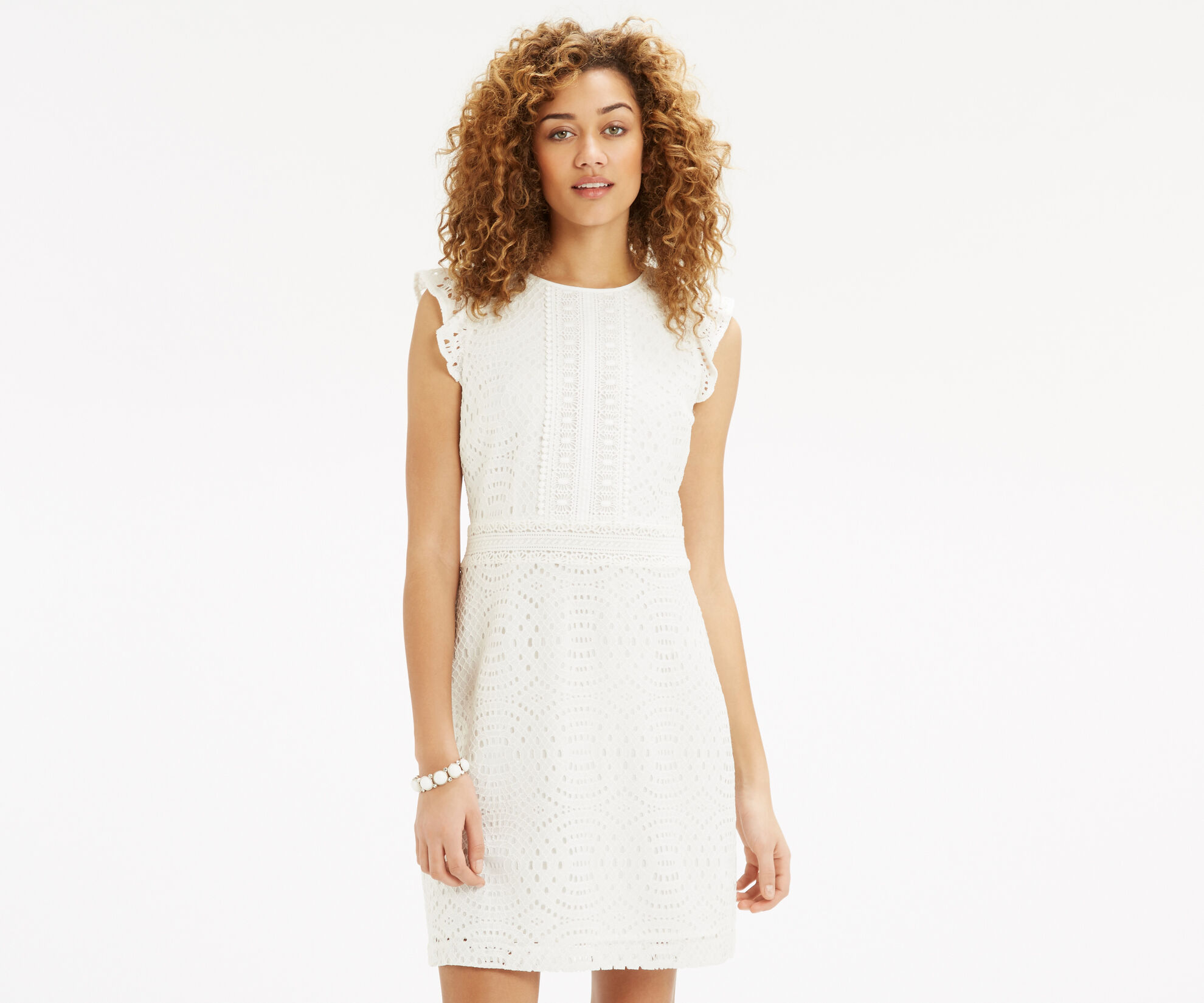 Oasis, Geo Patched Lace Dress Off White 1