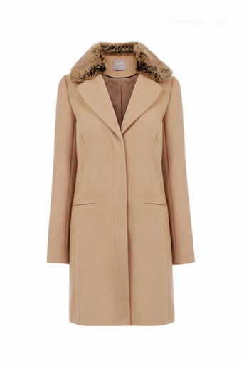 Oasis, FELICITY FORMAL FUR COLLAR COA Camel 0