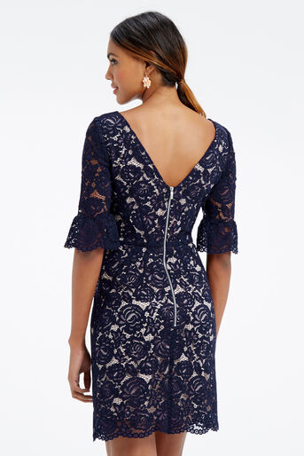 Oasis, LACE BELL SLEEVE SHIFT Navy 3