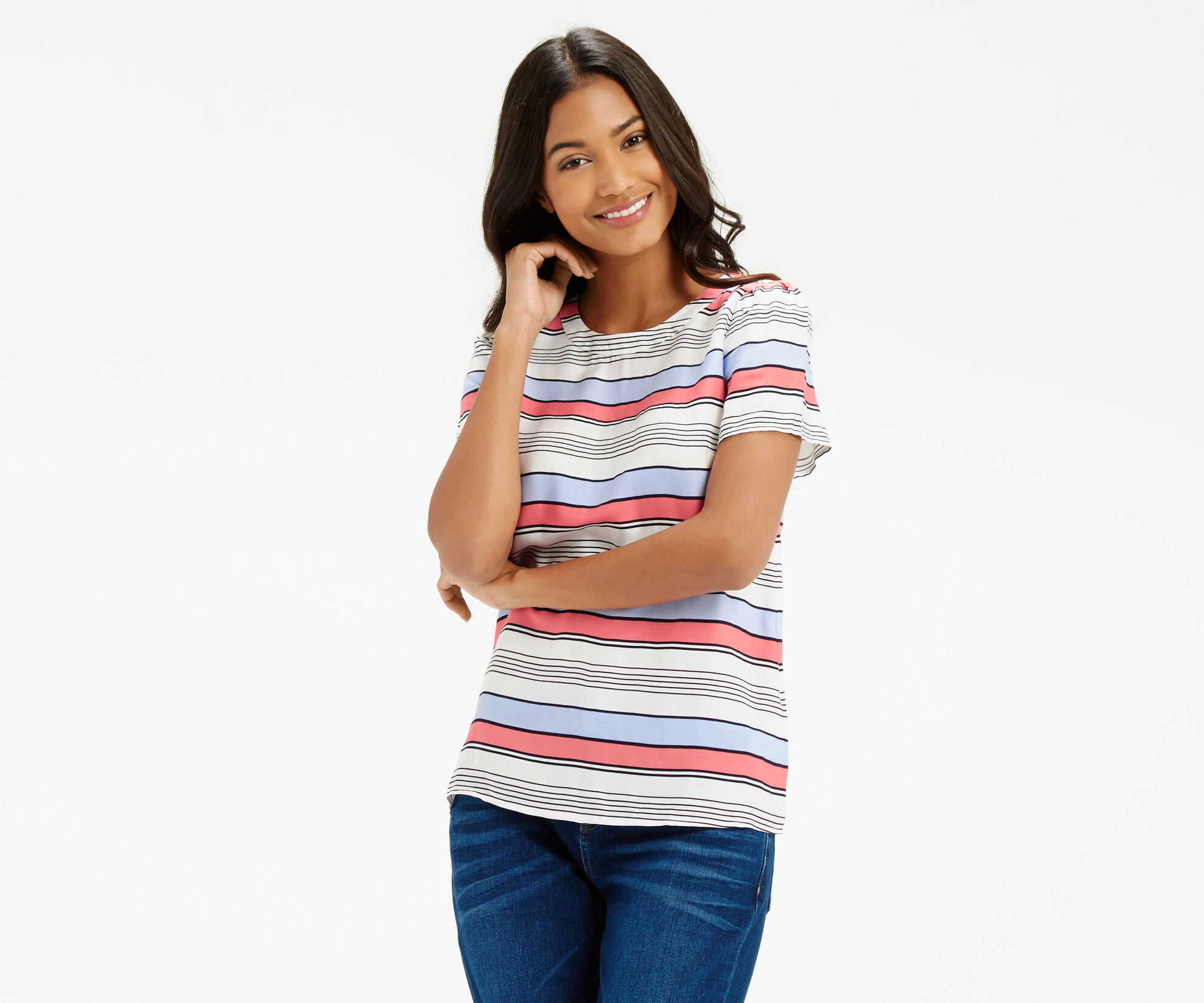 Oasis, Laced Back Stripe T-Shirt Multi Blue 1