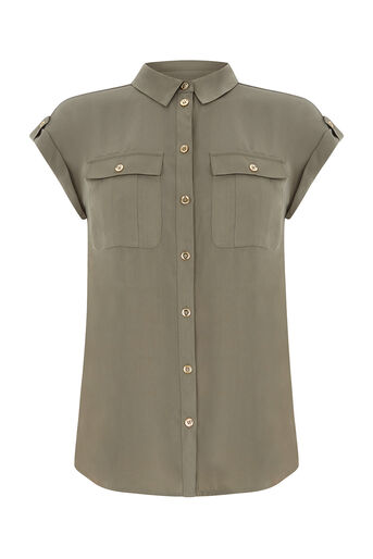 Oasis, SOFT SAFARI SHIRT Khaki 0