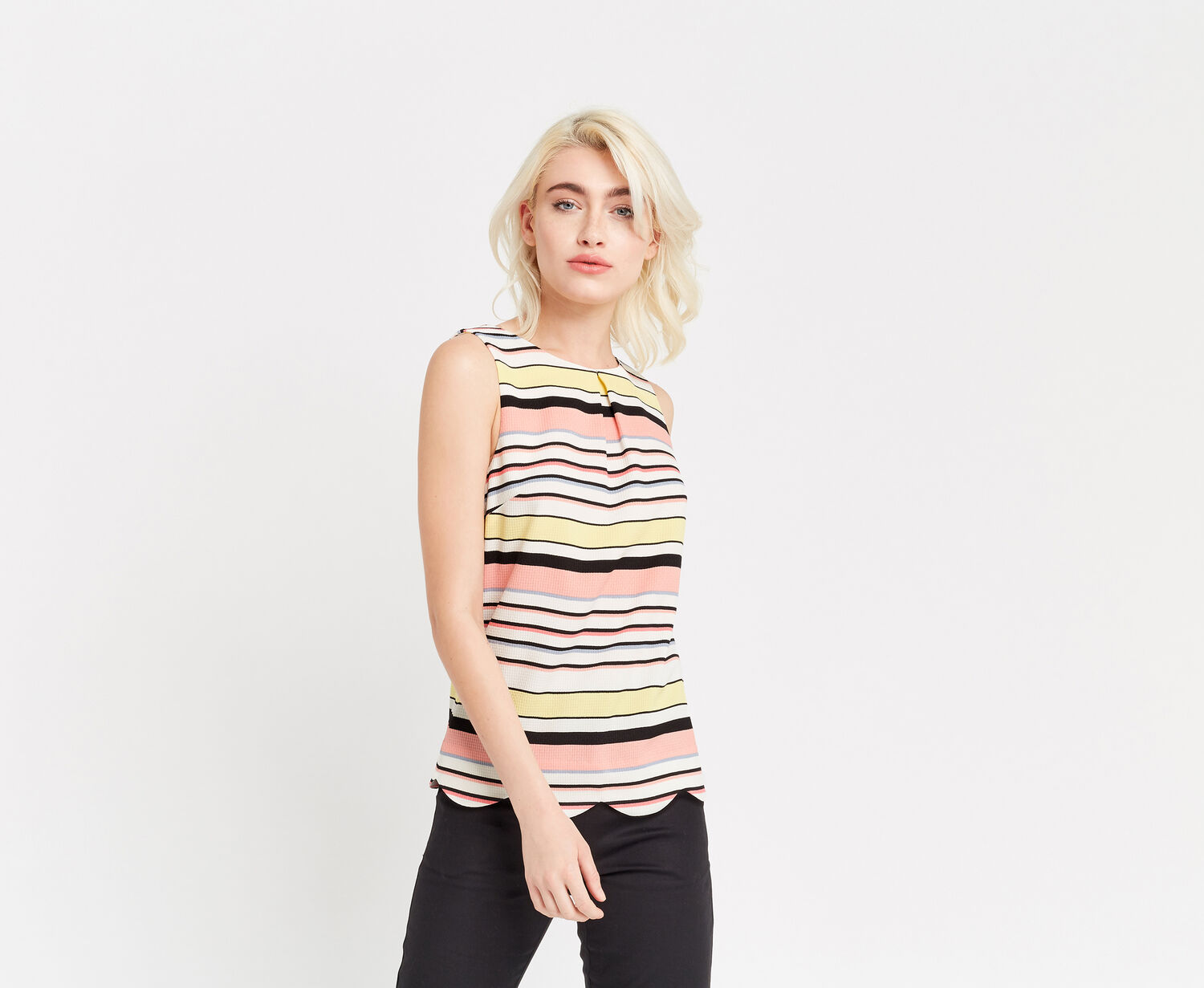 Oasis, STRIPE SCALLOP SHELL TOP Multi 1