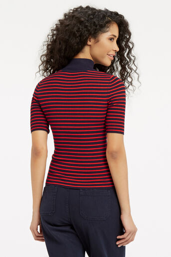 Oasis, Ribbed High Neck Top Multi 3