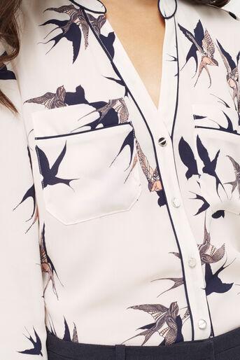 Oasis, BIRD PIPED SHIRT Multi Natural 4
