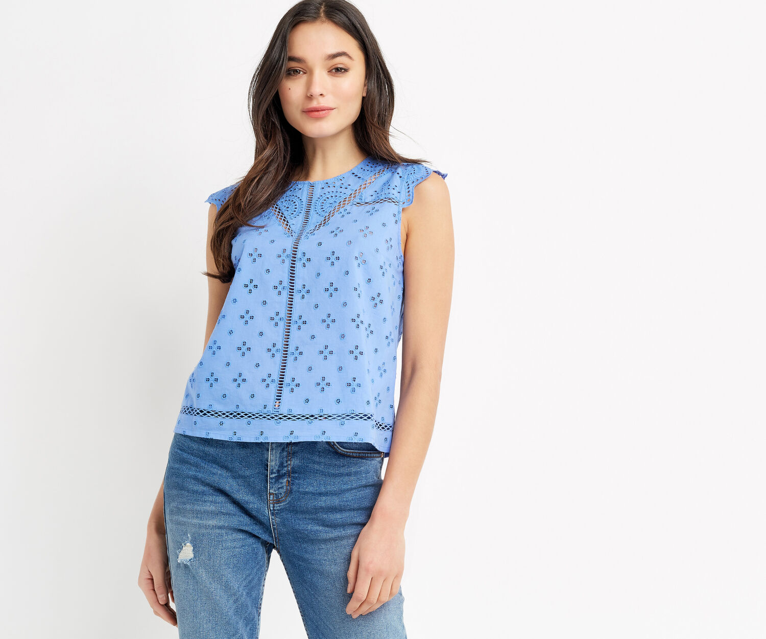 Oasis, COTTON BROIDERIE SHELL TOP Mid Blue 1