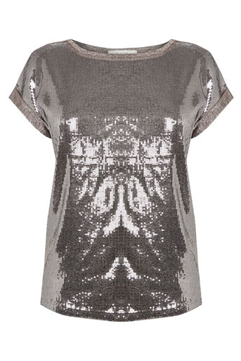 Oasis, SEQUIN FRONT TEE Silver 0