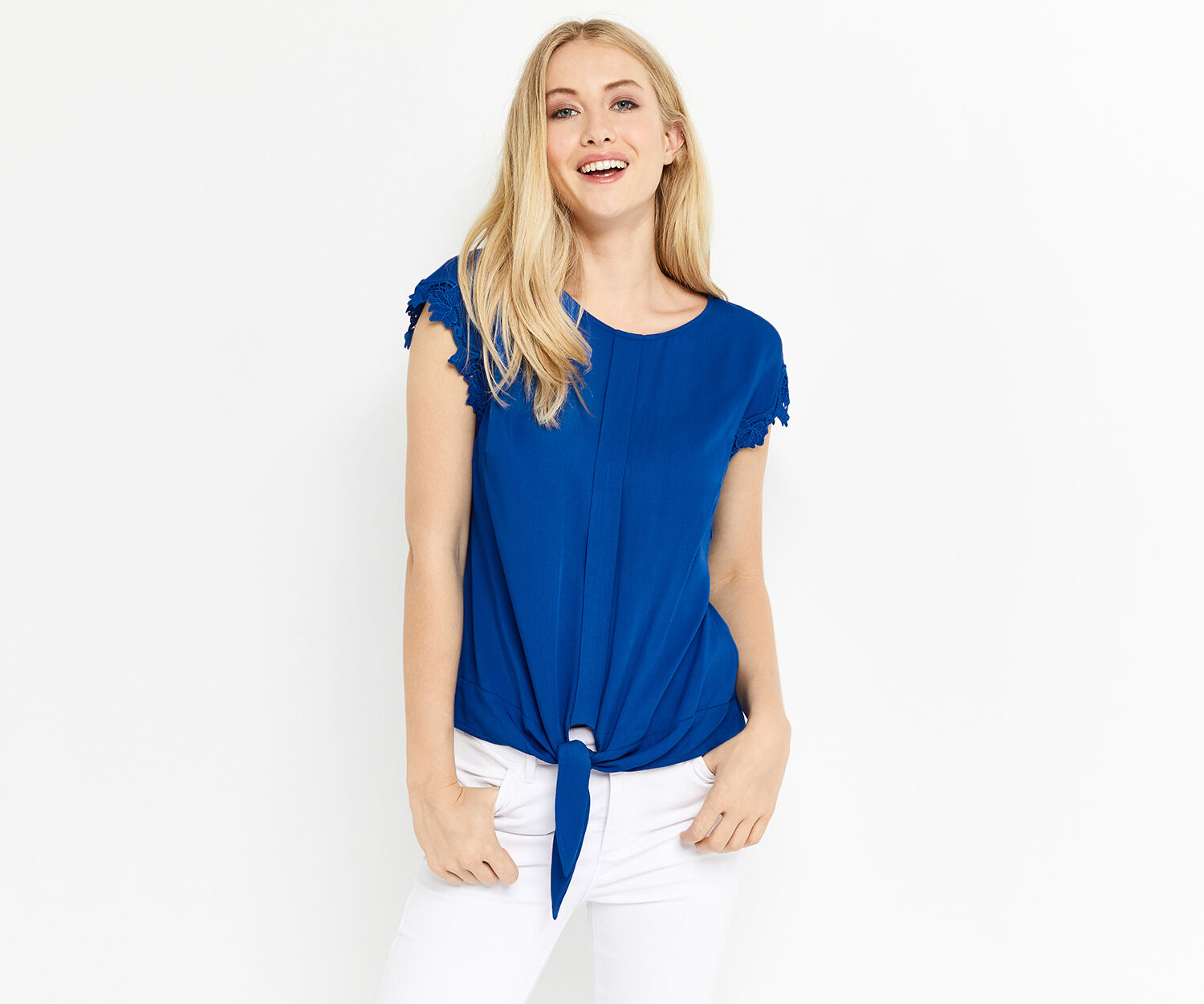 Oasis, LACE TRIM TIE FRONT TEE Mid Blue 1