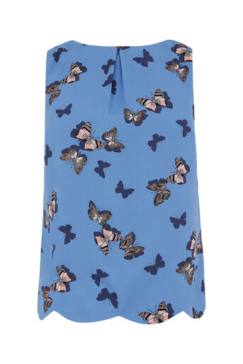 Oasis, BUTTERFLY SCALLOP SHELL TOP Multi Blue 0