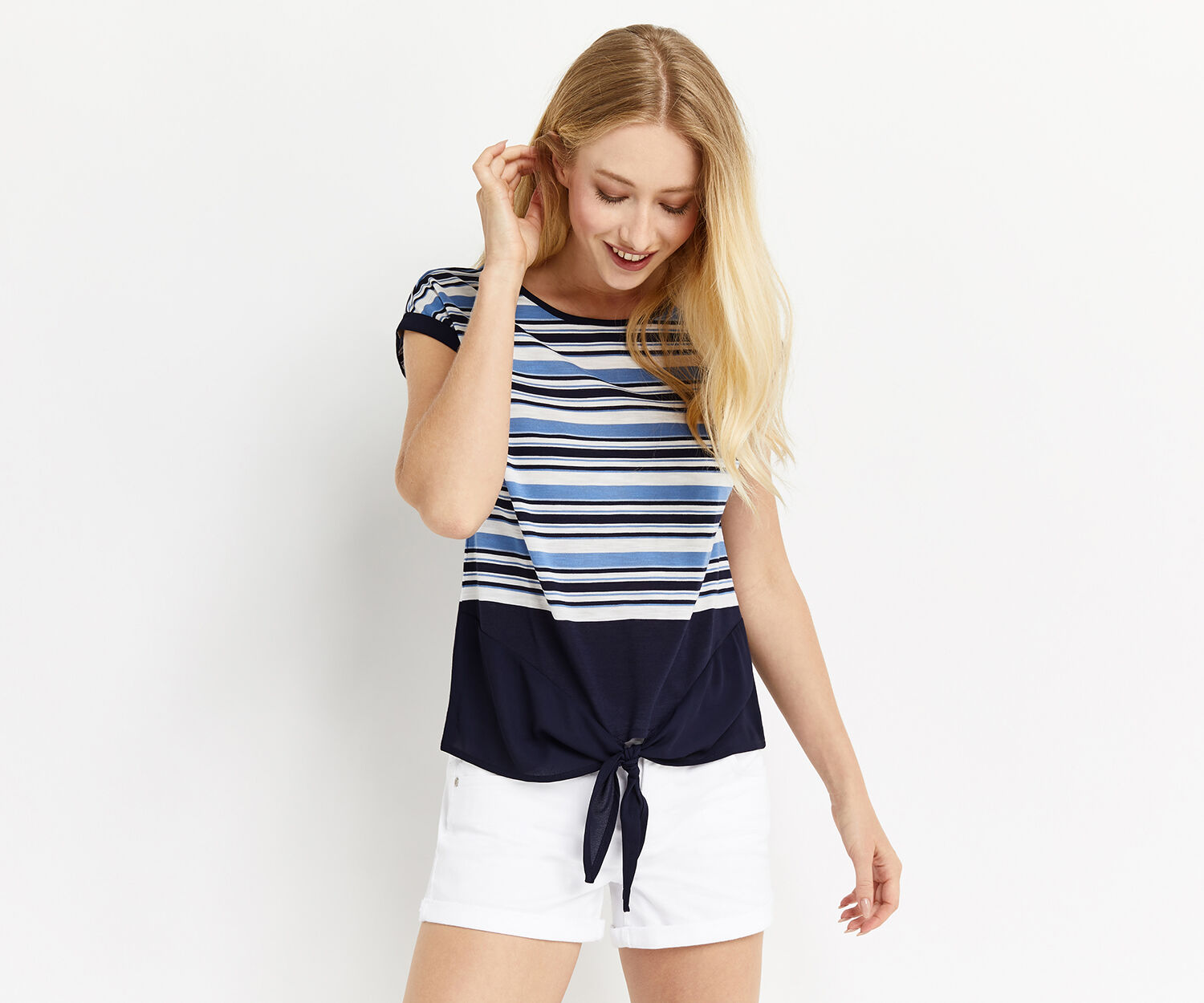 Oasis, BETHANY TIE FRONT TEE Multi 1