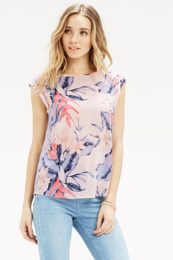 Oasis, TROPICAL FANCY T-SHIRT Multi Pink 1