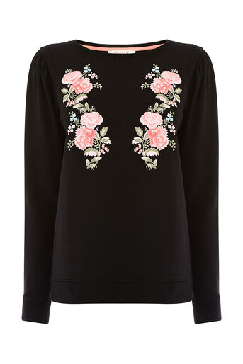 Oasis, EMBROIDERED PUFF SLEEVE SWEAT Black 0