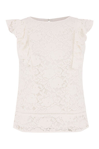 Oasis, LACE FRILL TOP Off White 0