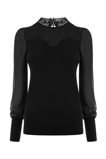 Oasis, LACE & SHEER SLEEVE KNIT Black 0