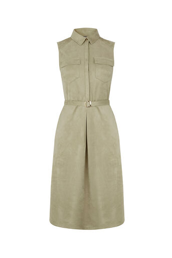 Oasis, Suedette Midi Shirt Dress Light Neutral 0