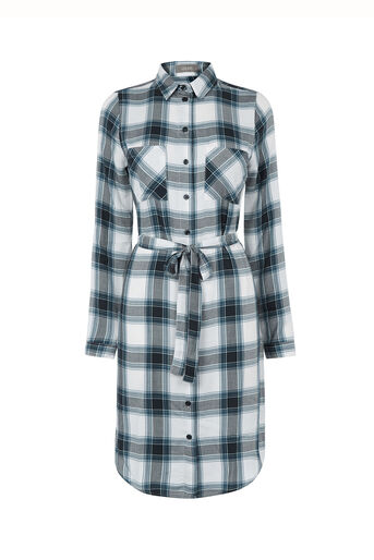 Oasis, Check Shirt Dress Multi Blue 0