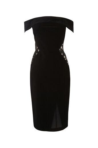 Oasis, LACE AND VELVET BARDOT DRESS Black 0
