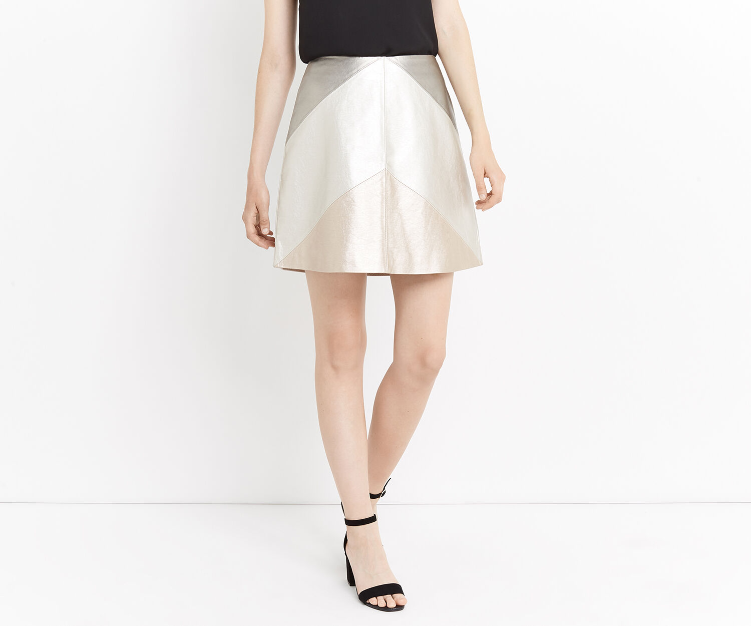 Oasis, METALLIC FAUX LEATHER SKIRT Gold 1