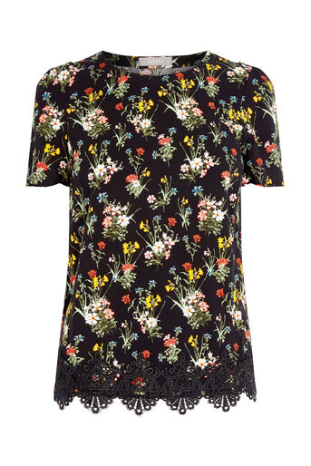Oasis, SPRING BOUQUET TEE Multi Black 0