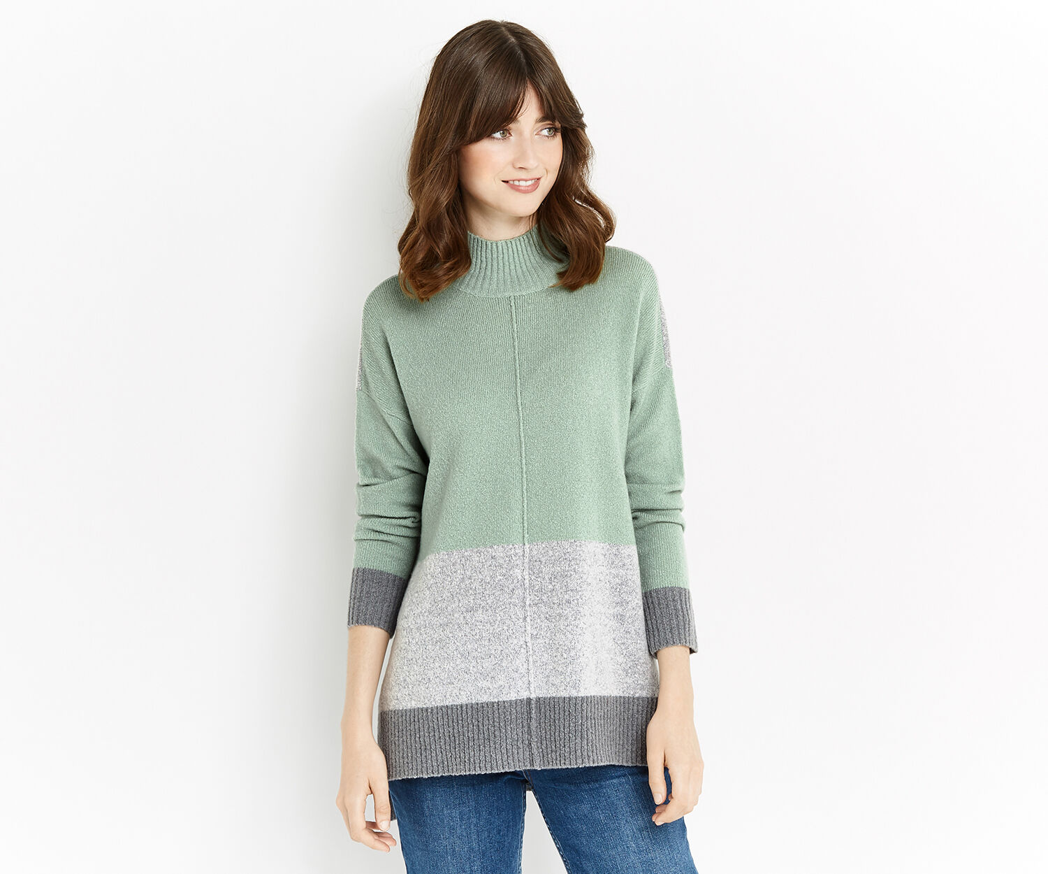 Oasis, Funnel neck colour block knit Teal Green 1