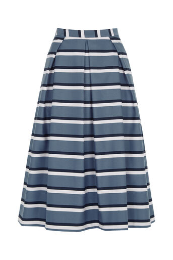Oasis, Stripe Midi Skirt Multi Blue 0
