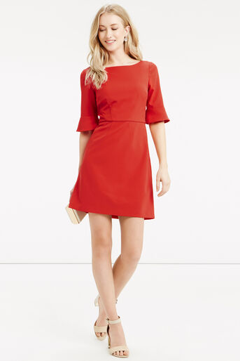 Oasis, Bell Sleeve Dress Mid Red 2