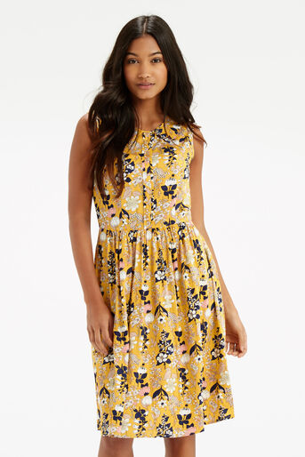 Oasis, Edie Floral Skater - Longer Le Multi Yellow 1