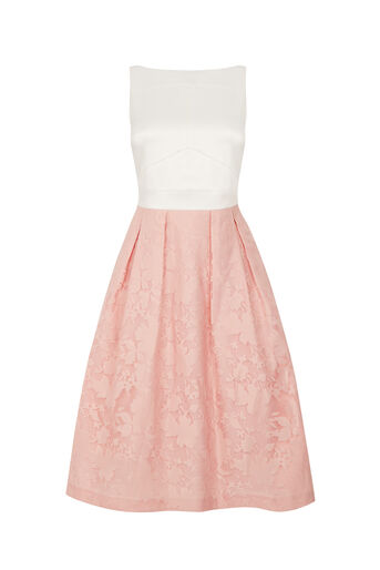 Oasis, ORGANZA MIDI DRESS Powder Pink 0
