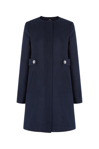 Oasis, Collarless Tab Detail Coat Navy 0