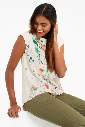Oasis, FLORAL PRINT TEE Off White 1