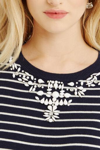 Oasis, Embellished Stripe Neck Top Multi 4