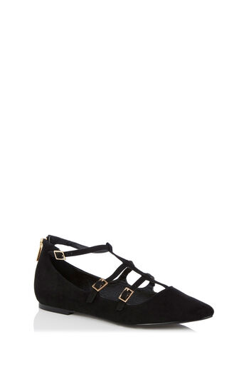 Oasis, LUCY TRIPLE BUCKLE BALLERINA Black 0
