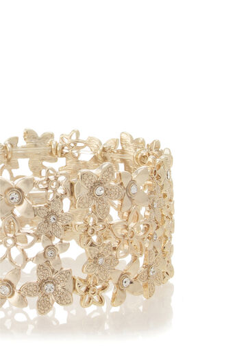 Oasis, Stretchy Flower Cuff Gold 2