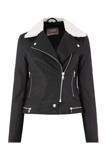 Oasis, FAUX SHEARLING COLLAR BIKER Black 0