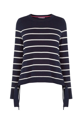 Oasis, Stripe Side Tie Jumper Multi Blue 0