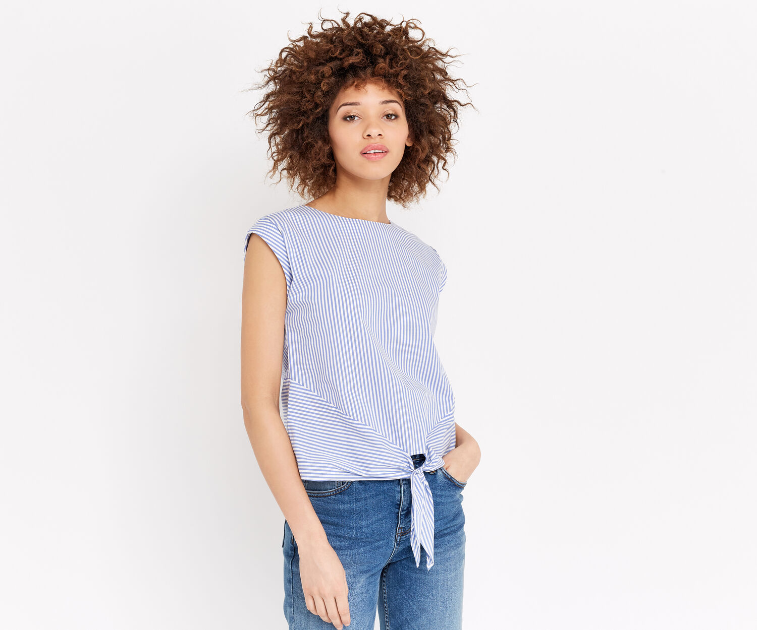 Oasis, TICKING STRIPE TIE FRONT TEE Multi Blue 1