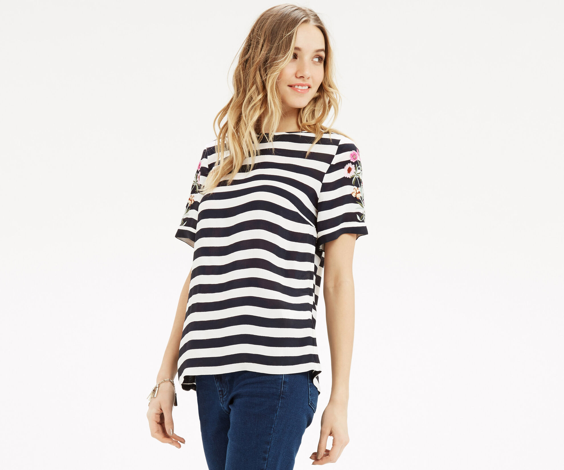 Oasis, Formal Stripe Embroidered T-Sh Black and White 1