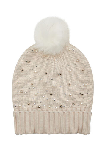 Oasis, PEARL HOT FIX BEANIE Cream 0