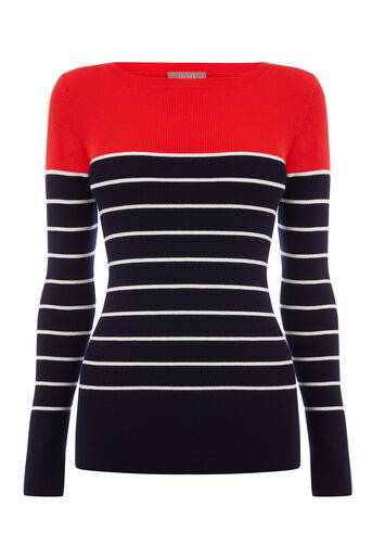 Oasis, COLOUR BLOCK RIB KNIT Multi Red 0