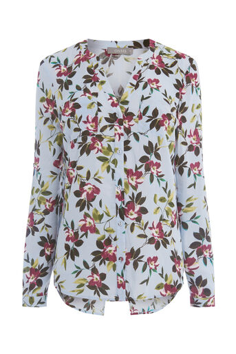 Oasis, PAINTED ROSE COLLAR SHIRT Multi Grey 0
