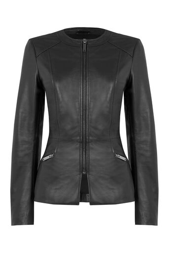 Oasis, Leather Collarless Jacket Black 0