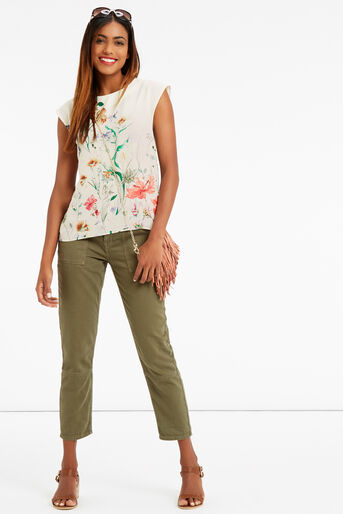 Oasis, FLORAL PRINT TEE Off White 2